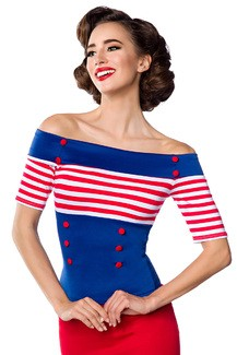 Jersey top with stripes White - light blue - red