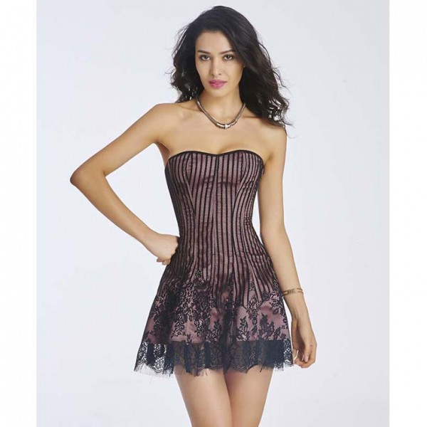Dark red Gothic Sexy Red Strapless Stripe Lace Corset Dress