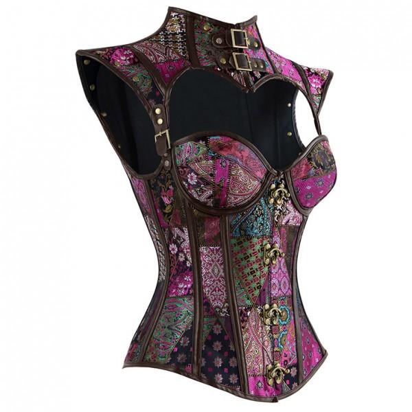 Women's Steampunk Purple Steel Boned Jacquard Overbust Corset with Decorative Cap Sleeve Shrug