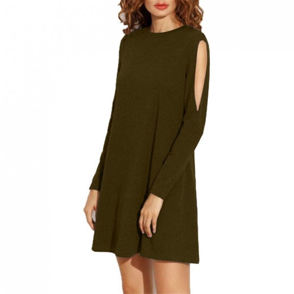 Army green women's Crew Neck Cut Out Long Sleeve Loose T-shirt Dress