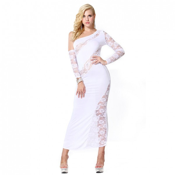 Langes Weisses Sexy Ein-Schultriges Kleid