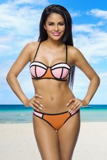 Neopren Bikini - orange - pink