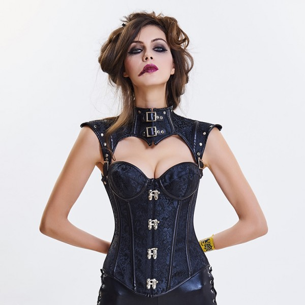 Steampunk Black Steel Boned Jacquard Overbust Corset with Decorative Cap Sleeve Shrug