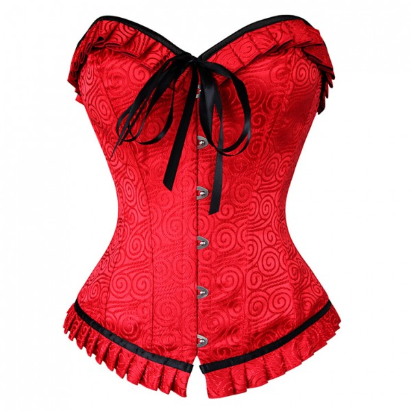 Fashion Red Brocade Ruffles Busk Closure Overbust Corset