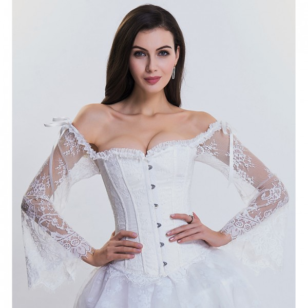 Fashion Plastic Boned White Overbust Corset with Long Floral Lace Sleeve