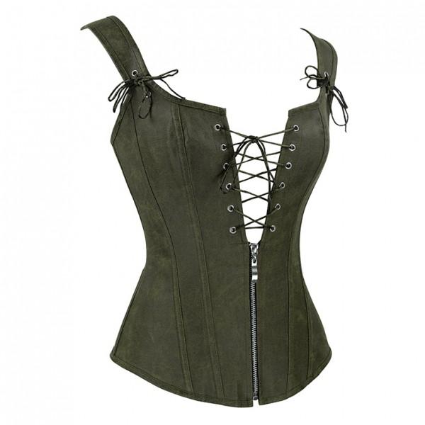 Steampunk Faux Leather Lace Up Vest Corset