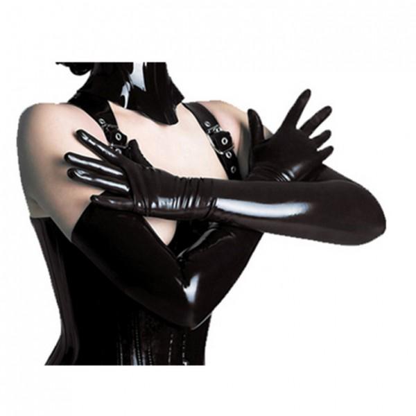 Black Long Wetlook PVC Gloves