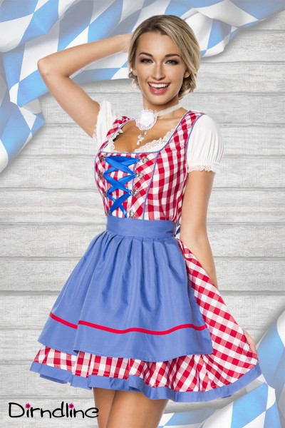 Traditionelles Minidirndl in rot/blau/weiss