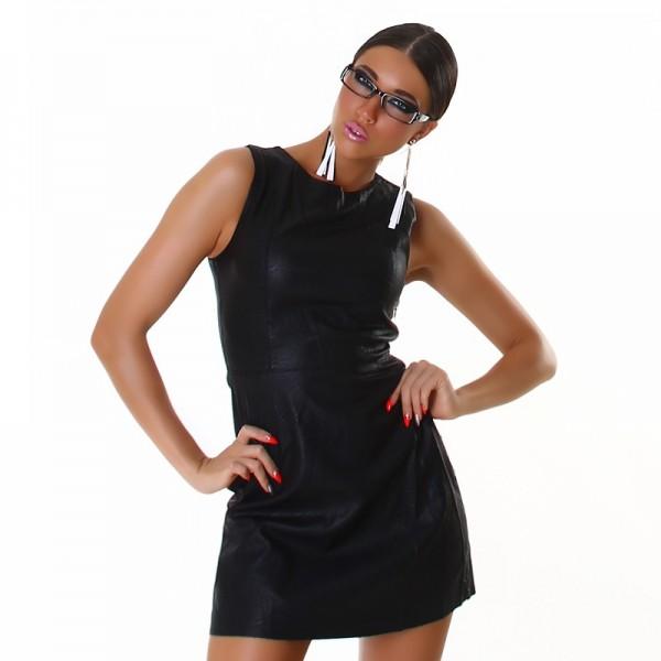 Black Kleid Lederimitat