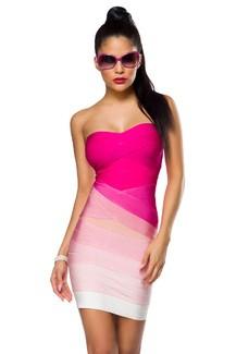 Sexy sleeveless Pink/white Bandage-Shape-Kleid