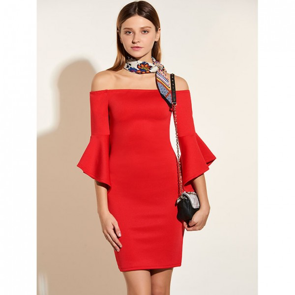 Women's Sexy Flared Half Sleeve Off Shoulder Bodycon Red Dress