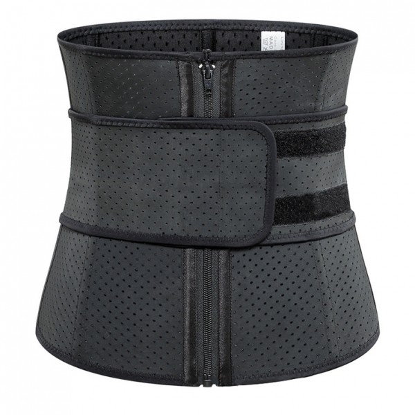 Unisex Black Breathable Meshed Neoprene Sports Waist Trimmer Workout Enhancer Body Shaper Belt