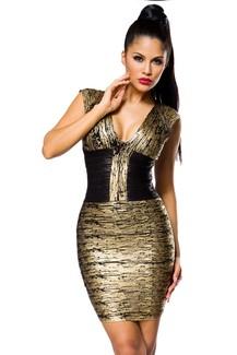 Gold/Black Party Bandage-Shape-Kleid