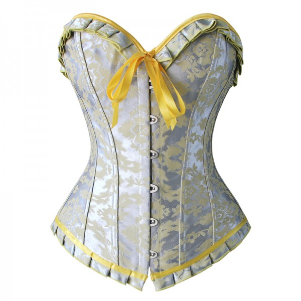 Elegant Silver and Yellow Jacquard Ruffles Busk Closure Overbust Corset