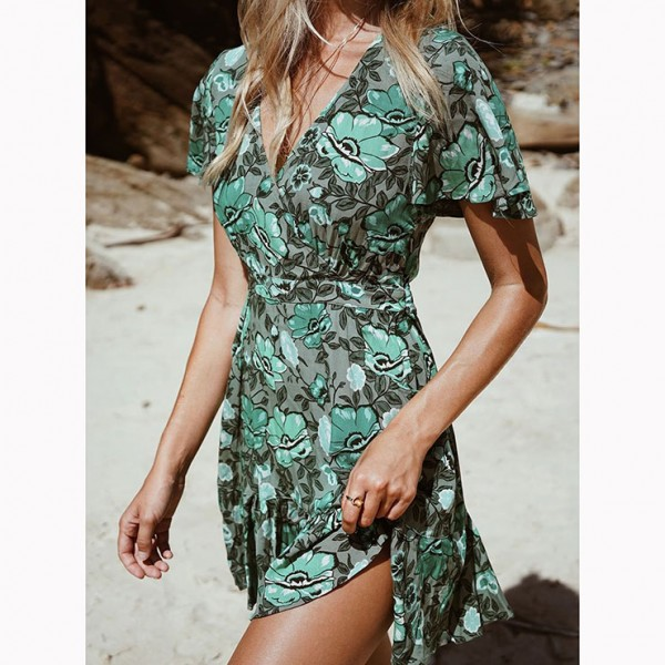Casual Summer Short Sleeve V Neck Ruffle Floral Print A-Line Dress