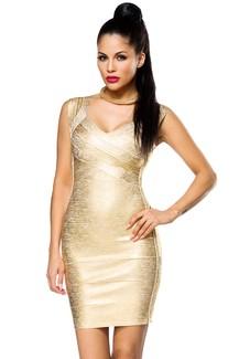 Gold Party Bandage-Shape-Kleid