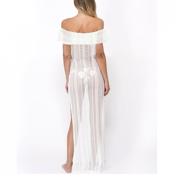 Sexy White Stripe See-through Fishnet Lace Off the Shoulder Cover Up