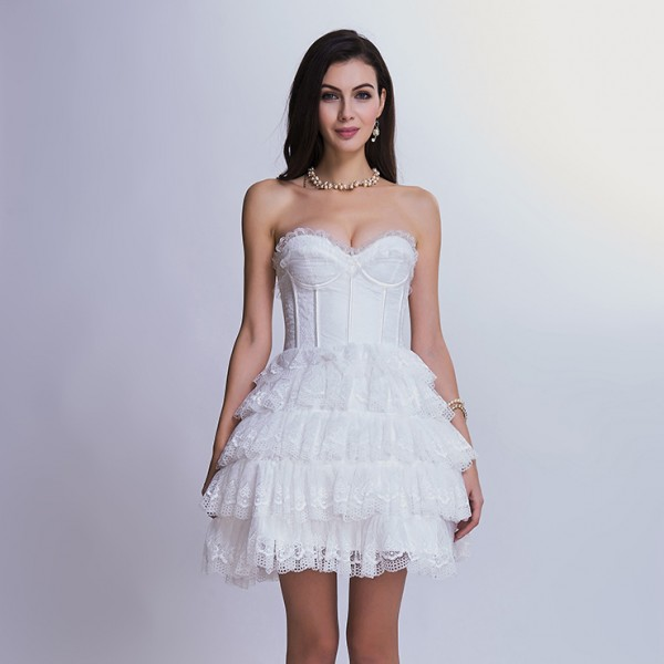 White Victorian Elegant Sweetheart Neck Strapless Lace Overlay A-line Corset Dress