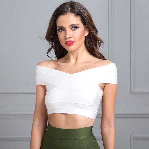 Women's White V Neck Off Shoulder Bodycon Bandage Tank Top