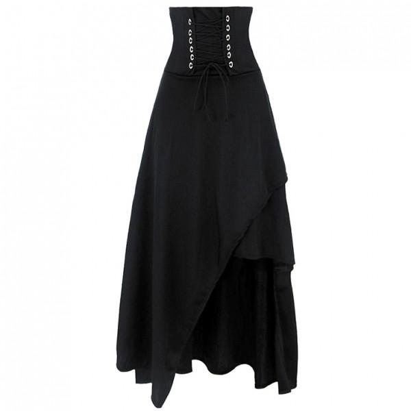 Victorian Steampunk Gothic Vintage black Band Waist Skirt