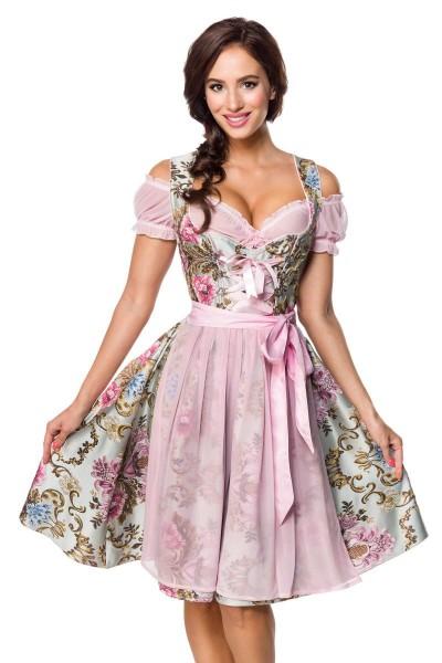 Premium Brokat-Dirndl inkl. Bluse - rosa/gemustert
