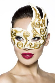 White and Gold Carnaval mask for coulored evenings