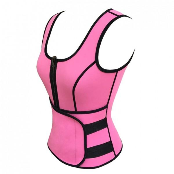 Modische Taillen-Trainings-Westen Korsett mit Gurt für Sport und Fitnessstudio - pink