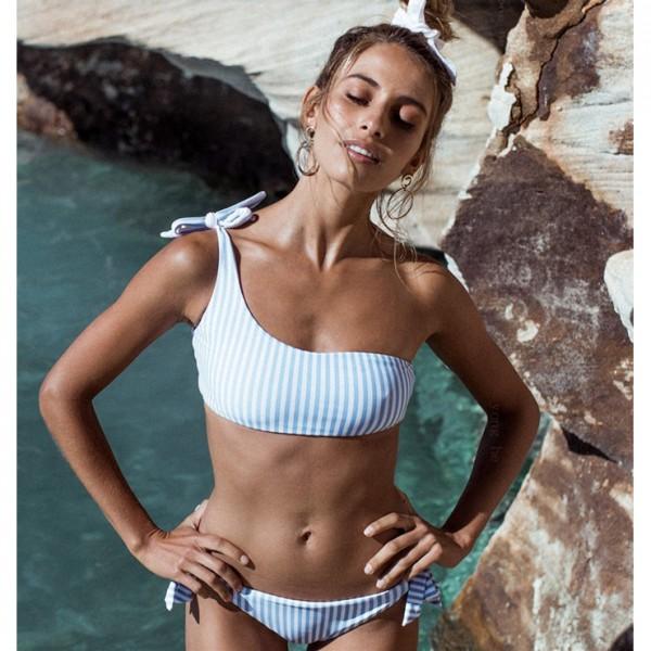 Sexy One Shoulder Tie Up Stripe Beachwear Bikini Set