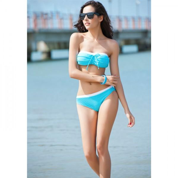 Blue Polka Dot Padded Ruched Bikini