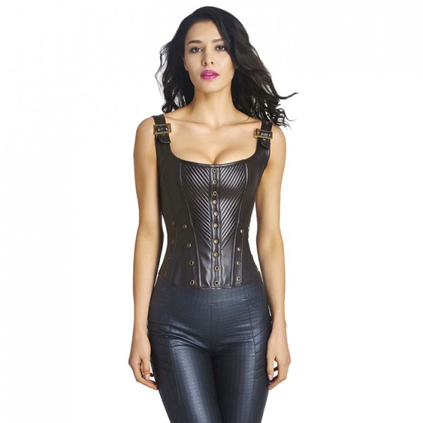 Steampunk Gothic Brown Faux Leather Bustier Corset with Buckles
