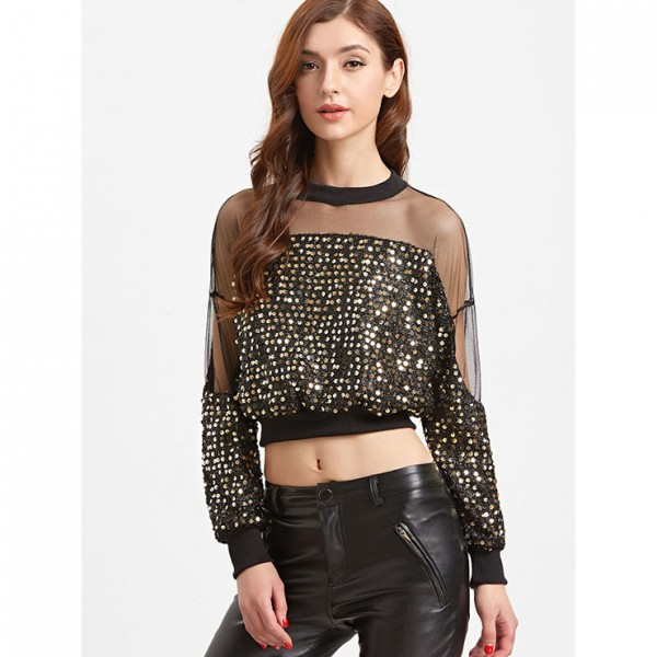 Fashion Glitter Sequined Long Sleeve Crop Top