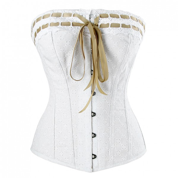 Charming White Steel Boned Overbust Corset