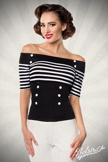 Jersey top with stripes black and white