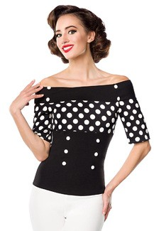 Jersey top with stripes black and white with dots