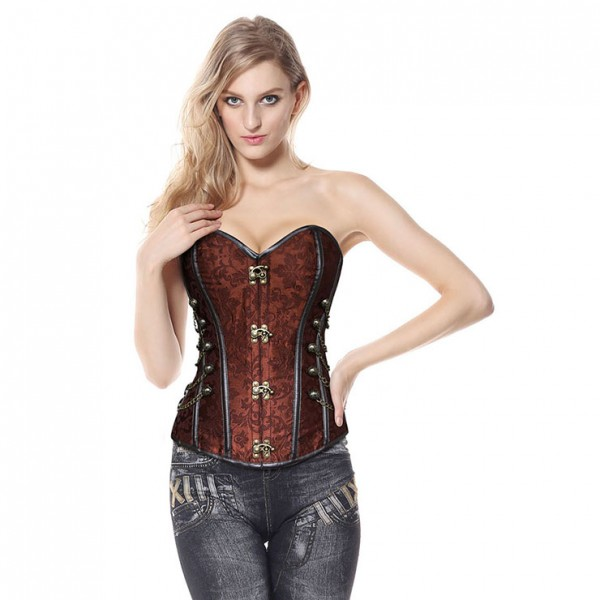 Brown Steel Boned Steampunk Corset