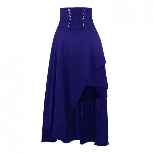 Victorian Steampunk Gothic Vintage blue Band Waist Skirt
