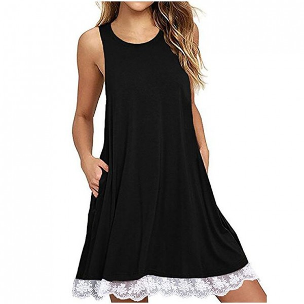 Black Sexy Blue Sleeveless Lace Splicing Casual T-Shirt Dresses with Pockets