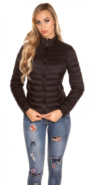 Trendy quilted transition jacket w. standup collar