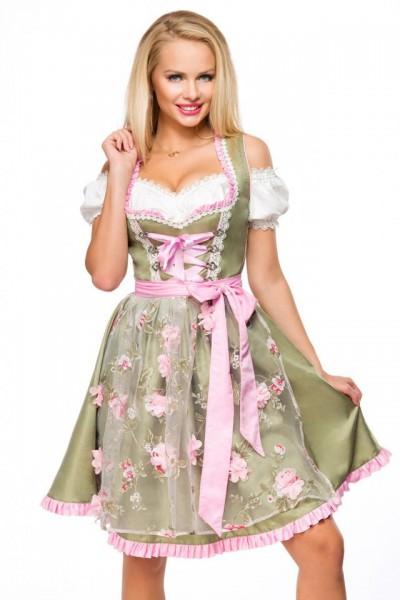 Dirndl mit Blumenschürze - grün/rosa