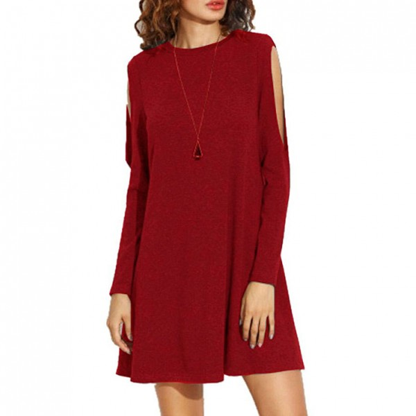 Wine red women's Crew Neck Cut Out Long Sleeve Loose T-shirt Dress