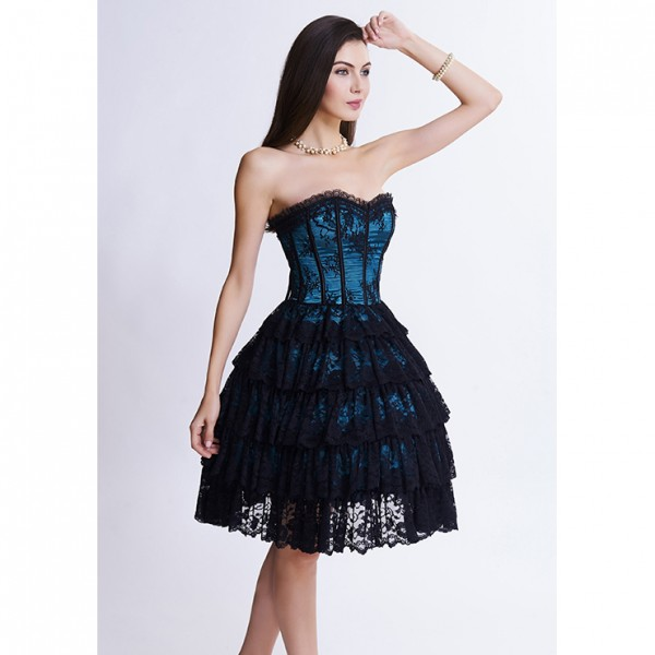 Dark blue Victorian Elegant Sweetheart Neck Strapless Lace Overlay A-line Corset Dress
