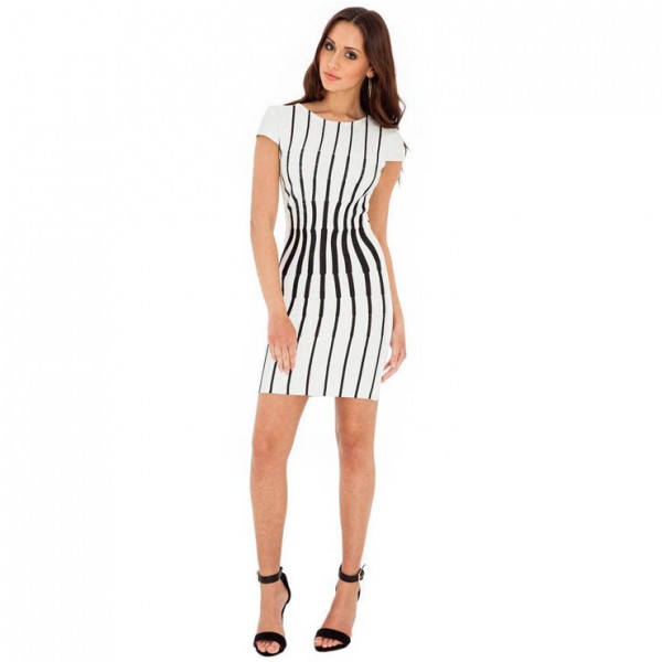 Fashion Black and White Vertical Stripes Print Short Sleeves Mini Dress