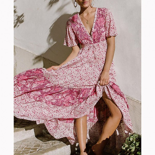 Casual Short Sleeve V Neck High Waist Ruffle Floral Print Maxi A-Line Dress