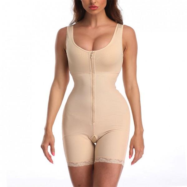 Sexy Front Zipper Closure Shapewear Elastic Body Shaper Sport Bodysuit - beige